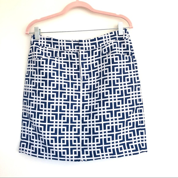 Blue and White Geometric Mini Skirt with Pockets 2